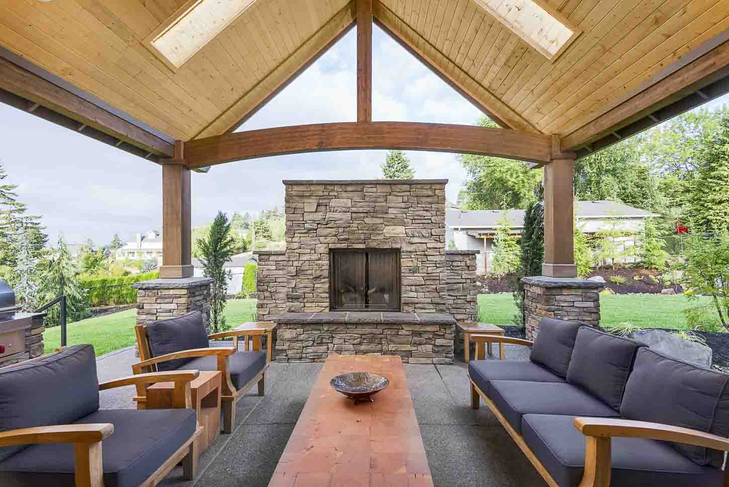 Edmond Outdoor Stone Fireplace